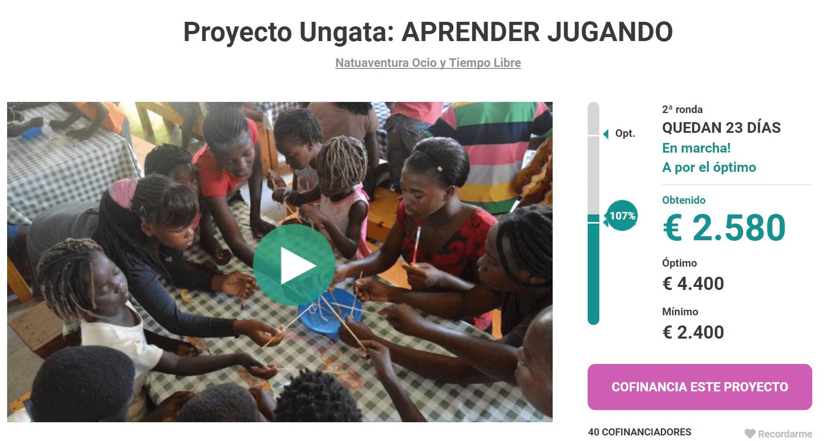 Goteo categoria solidaria proyecto ungata aprender jugando
